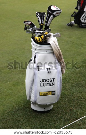 JOYENVAL GOLF COURSE, FRANCE - SEPTEMBER 24 : Joost Luiten bag  (NED) at Vivendi golf Cup, European Tour, september 24, 2010, at  Joyenval golf club, France.