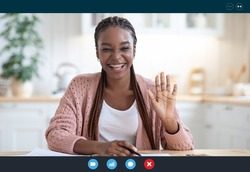 Joyful black woman making video call with laptop in kitchen interior, waving at screen, cheerful african american female having online web conference at home, screenshot image from device, collage