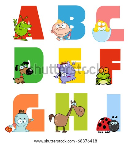 Joyful Cartoon Alphabet Collection 1