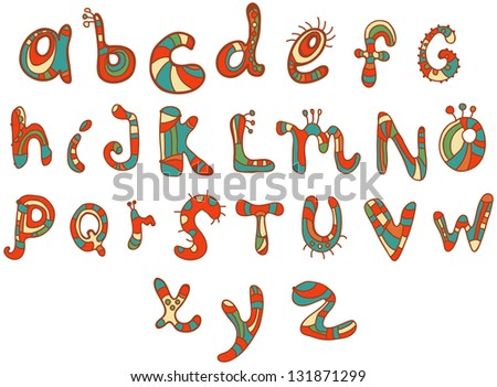 Joyful Cartoon font - from A to Z, hand drawn color letter, funny Alphabet for Design - stock photo