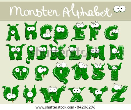 Joyful Cartoon font - from A to Z, monster green capital letter