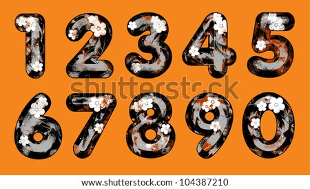Joyful Decorative numbers with the leaves in the grunge style, from 1 to 0. The four colors.