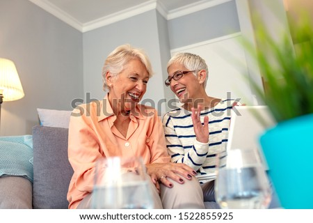 Joyful female friends having a conversation. Senior Women Socializing in Lounge Using Laptop Computer at Senior Care Center. Social Seniors. Portrait of two beautiful senior women