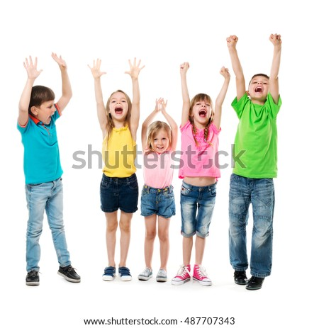 joyful laughing children with...