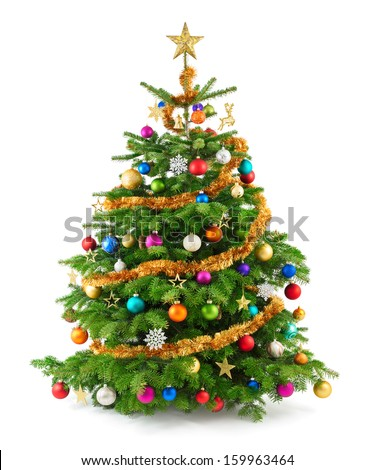 Joyful studio shot of a Christmas tree with colorful ornaments, isolated on white - Shutterstock ID 159963464