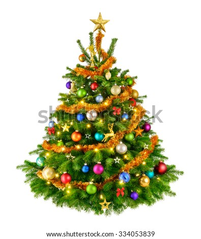 Joyful studio shot of an elegant natural Christmas tree with colorful ornaments, isolated on white - Shutterstock ID 334053839