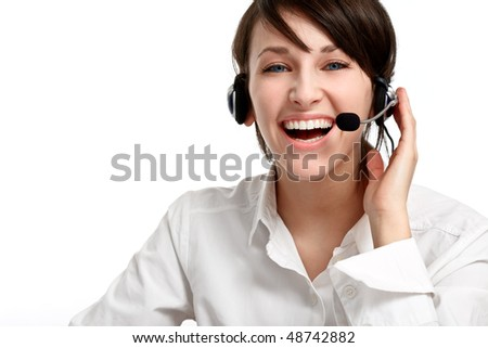 joyful woman operator with headset - microphone and headphones, on white