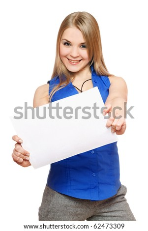 Joyful young woman holding empty white board. Isolated