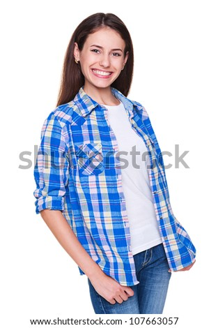 joyful young woman in checked shirt. isolated on white background