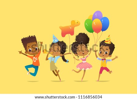 Joyous African-American boys and girls with the balloons and birthday hats happily jumping with their hands up. Concept of true friendship and birthday party. Illustration for website banner, poster,