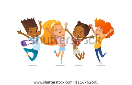 Joyous school friends happily jumping with their hands up against purple background. Concept of true friendship and friendly meeting. Illustration for website banner, poster, flyer, invitation.