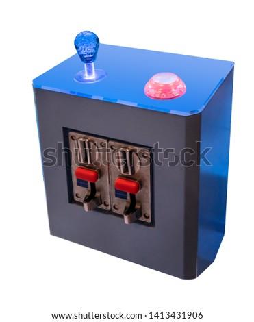 Retro arcade stick isolated on white background Images and