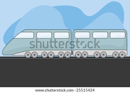 Jpeg cartoon illustration of a modern train pulling a passenger car