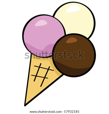 stock photo : Jpeg cartoon illustration of an ice cream cone with three