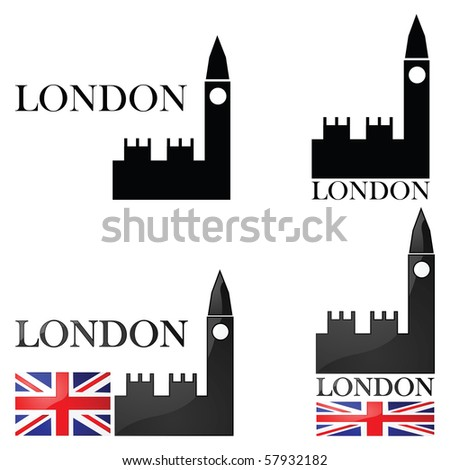 Jpeg concept set of illustrations for London showing an icon for the Big Ben alongside other elements such as the Union Jack