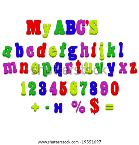 Jpeg fridge magnet alphabet spelling ABC letters and numbers illustration