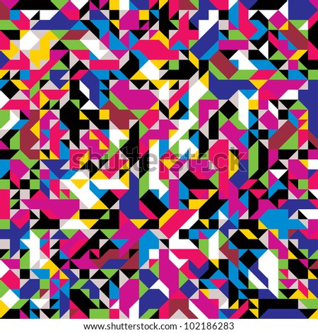 Jpeg illustration from vector file: Seamless geometric pattern with colorful elements.
