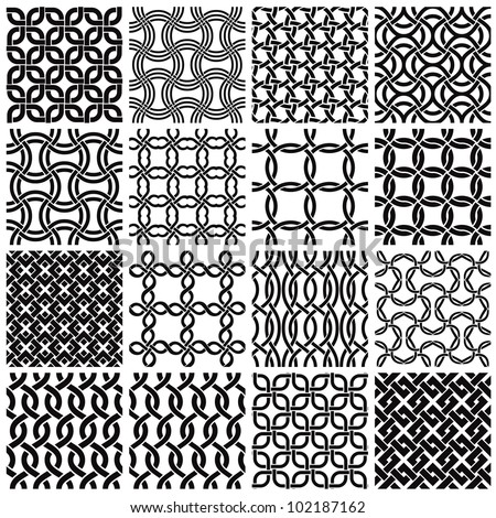 Jpeg illustration from vector file: Set of black and white geometric seamless patterns. Netting metal backgrounds collection.