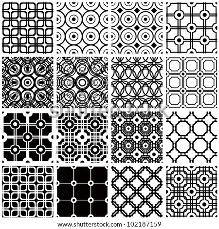 Jpeg illustration from vector file: Set of monochrome geometric seamless patterns. Vintage backgrounds collection.