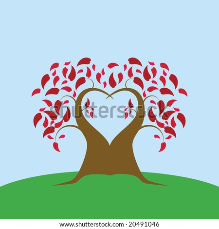 Jpeg illustration of a tree shaped like a heart on a field
