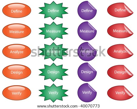 jpeg illustration of buttons and stickers used for process improvement.