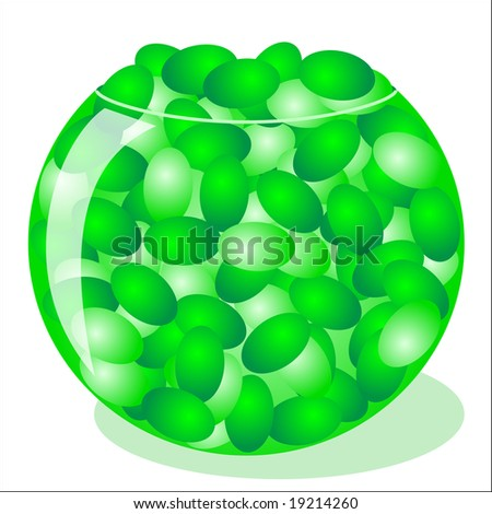 Jpeg illustration of green jellybeans in a bowl.