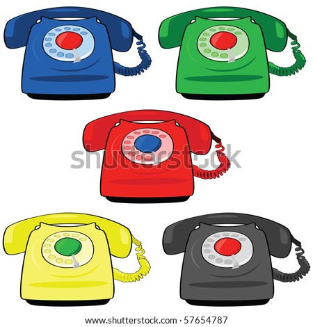 Jpeg illustration set of different colors of vintage telephones - stock photo