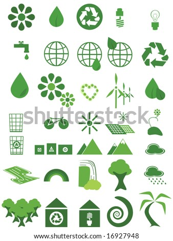 Jpeg illustration set of 35 environmental icons in different shades of green and white. For vector version, please see my portfolio.
