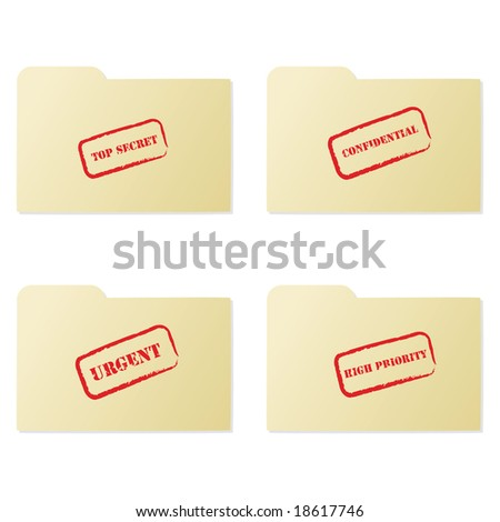 Jpeg illustration set of folders with different messages: top secret, confidential, urgent and high priority