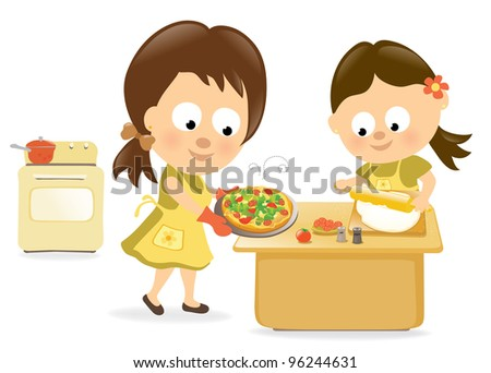 Jpeg Mother and daughter baking pizza