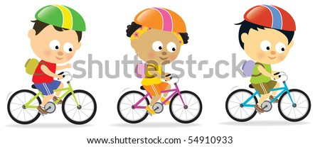 JPEG Multi-ethnic kids biking - stock photo