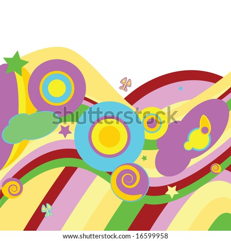 Jpeg psychedelic abstract background with curves, waves, circles, stars and butterflies. For vector version, please see my portfolio.