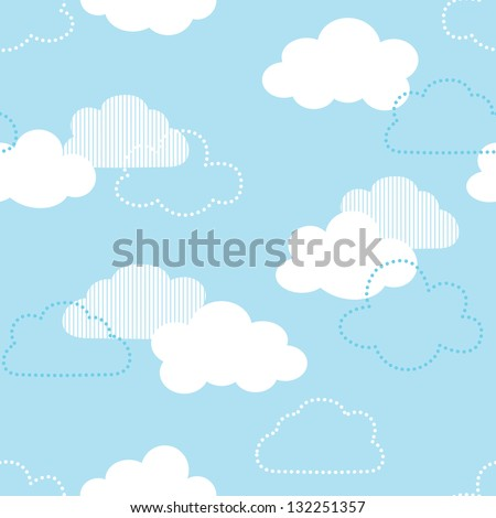 JPEG seamless background with clouds. Great for Greeting Cards, gift wrap, surface textures. See my folio for matching patterns in this set and for vector version - set of 4 seamless patterns.