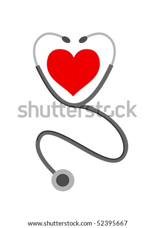 jpeg stethoscope and heart on white