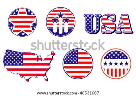 Jpeg Version. American Patriotic Symbols Set For Design And ...