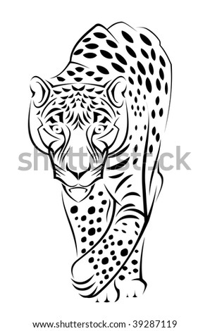 Jaguar Cartoon. Beautiful wild jaguar