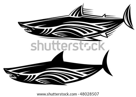 Black shark tattoo for design