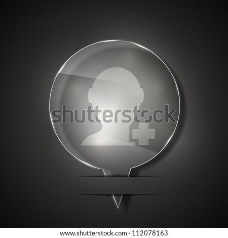 Jpeg version. glass add friend icon on gray background