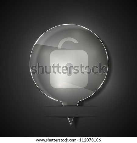 Jpeg version. glass unlock icon on gray background