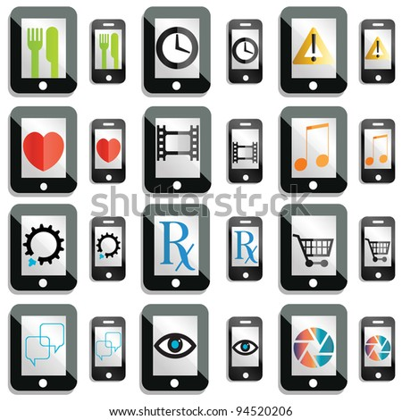 Jpeg version of a set of touchscreen device icons and buttons