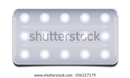 Jpeg version. pills in a package isolated on white