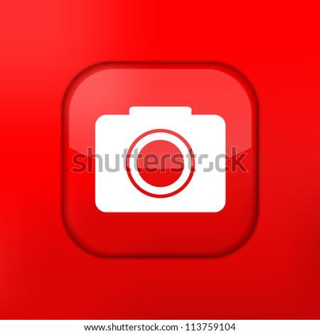 Jpeg version.   red camera icon. - stock photo