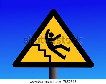 JPG Beware of slippery steps sign on blue illustration