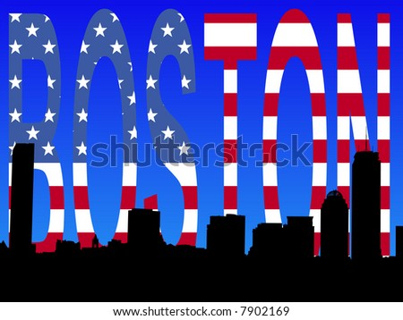 JPG Boston skyline against American flag text illustration