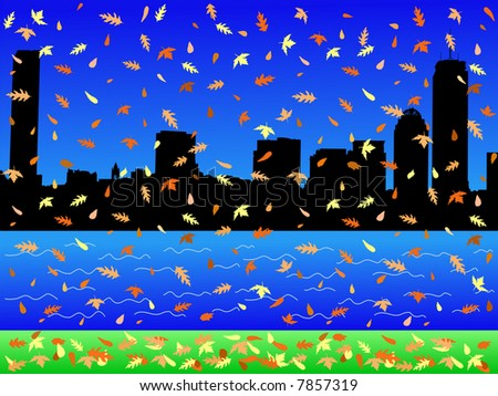 JPG Boston skyline in autumn with falling leaves