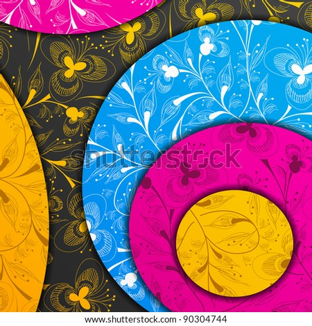 jpg, colored layers, abstract background, stylized flowers - stock photo