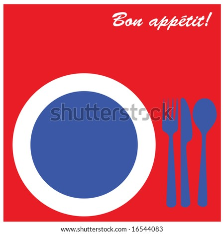 Jpg icon illustration of plate with fork, knife and spoon on its side, in the colors of France and the words 'Bon ap�½tit' on top.