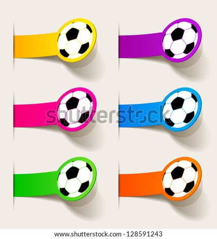 jpg, sticker with a picture of a soccer ball - stock photo