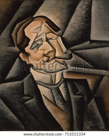 JUAN LEGUA, by Juan Gris, 1911, Spanish Cubist painting, oil on canvas. Analytic Cubist portrait of a man smoking a pipe is softer and more representational than comparable works by Cubism founders, P