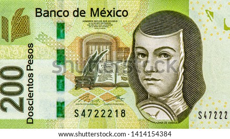 Juana de Asbaje Portrait from Mexico  200 Pesos Polymer Banknotes. An Old Polymer banknote, vintage retro. Famous ancient Banknotes. Collection.